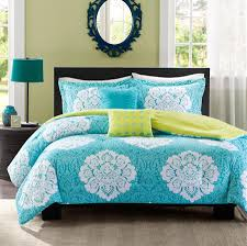 Quilted Duvet Cover King Teal Blue Green Damask Scroll Bedding Teen Twin Xl Full Queen