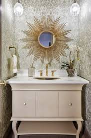 Gold Bathroom Mirror by Luxury Bathroom With White Stand Alone Tub And White Arm Chair