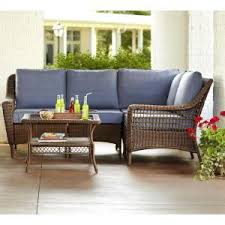 hampton bay spring haven brown all weather wicker patio loveseat