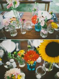 Mismatched Vases Wedding Colorful Backyard Wedding