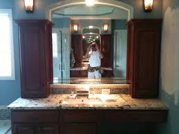 stone grey modern double sink open shelf for towel storage white