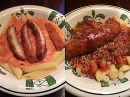 Five Cheese Marinara Sauce On Cavatappi Pasta With Chicken Meatballs - i ate olive garden s never ending pasta with the hapifork abc news