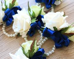 Royal Blue Corsage And Boutonniere Wrist Corsage Etsy