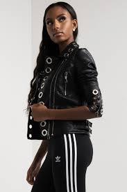 leather moto jacket long sleeve metal ring zip up asymmetric faux leather moto biker