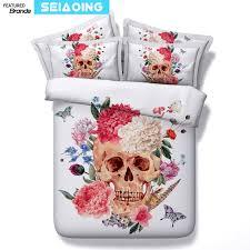 sugar skull bed linens white 3d indian flowers comforter duvet