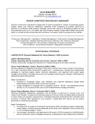 construction project manager sample resume construction manager resume residential construction manager resume