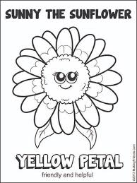 sunny the sunflower coloring page free printable flower coloring