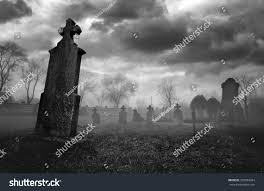 graveyard clipart black and white old creepy graveyard on stormy winter stock photo 358984244