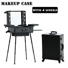 makeup luggage with lights classic black aluminium makeup case with lights bulbs makeup artist
