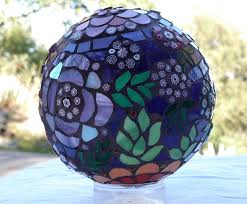 whimsical floral mosaic decorative globe one of a kind stained
