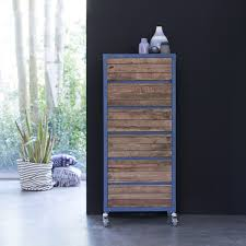 Schlafzimmer Kommode Holz Kommode Aus Metall Und Recyceltem Holz Blue Mit 6 Schubladen