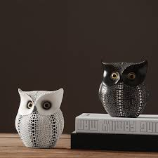 brief black white owl resin sculpture personality owl resin