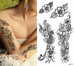 1pcs temporary tattoo black henna tattoo sticker women arm henna