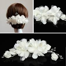 pearl hair accessories white flower bead pearl hair comb wedding bridal headpiece