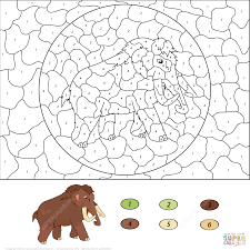 dot coloring pages mammoth color by number free printable coloring pages