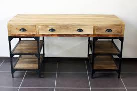 bureau industriel bois et metal bureau industriel métal et bois de manguier destockage grossiste