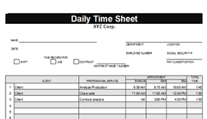 Daily Timesheet Template Excel Timesheet Template