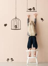cool and creative kids room wallpaper with birds theme