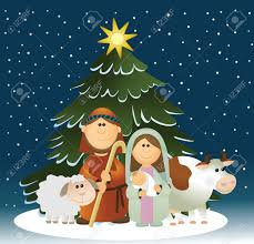christmas nativity scene with holy family royalty free cliparts