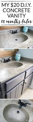 how to build a concrete sink how s it holding up diy concrete vanity update concrete sink diy