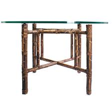 Glass Topped Dining Tables Dining Table Mcguire Bamboo Base Round Glass Top Dining Table