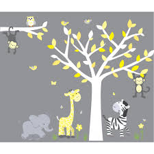 jungle tree wall decals and jungle wall murals for nursery kids wild animals yellow gray jungle tree wall decals