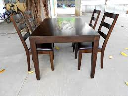 Solid Wood Dining Room Sets Varnished Brown Solid Wood Dining Table 4 Dining Chairs With