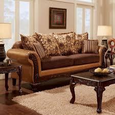 isabella camel dark brown chenille leatherette sofa