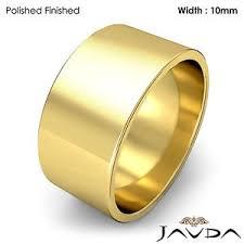 s plain wedding bands 10mm flat pipe cut 18k yellow gold s plain wedding band ring