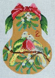 kelly clark 2nd day christmas needlepoint pear needlepoint