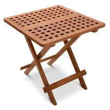 Wood Camping Table Outdoor Furniture Hammacher Schlemmer