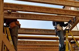 engineered wood i beam floor joists at habitat one project