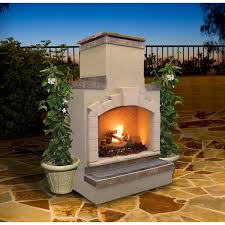 Propane Fireplace Logs by Cal Flame 48 Inch Outdoor Propane Gas Fireplace With Stack Chimney