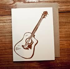 guitar block printed card
