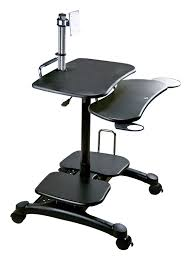 Movable Computer Desk Mobile Computer Desk With Lcd Pole Mount For Up To 30 U201d