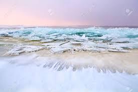 Frozen Waves Big Pieces Of Broken Ice On Frozen North Sea Netherlands Stock
