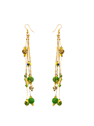 hanging earrings fe32 green golden hanging earrings for women
