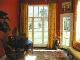 striped window curtains with transparent windows and door on grey