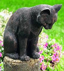 outdoor garden yard cat mouse decor sculpture statue resin bronze