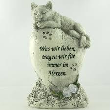 schöner katzen gedenkstein mit trauerspruch und katzenfigur - Trauersprüche Katze