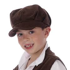 childs oliver pauper hat urchin boy brown victorian flat cap
