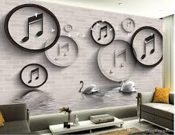 Wall Murals 3d High Quality Costom Black And White Stereo Circle Swan 3d Tv Wall
