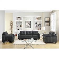 2 piece modern black bonded leather sofa and loveseat livingroom