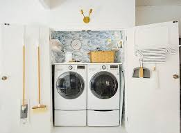 Countertop Clothes Dryer Double Laundry Room Door With Drying Rack Eclectic Laundry Room