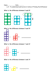 year 1 finding the difference between numbers by
