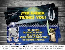 Star Wars Room Decor Etsy by Star Wars Theme Matching Birthday Thank You Card Blue R2d2