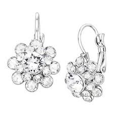 earrings s crystaluxe flower drop earrings w swarovski crystals sterling
