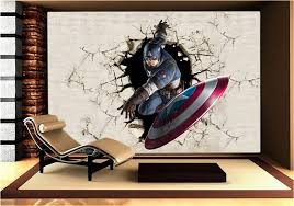 Captain America Decor Photo Wallpaper Picture More Detailed Picture About 3d View