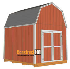 Hip Roof Barn Plans Shed Plans 10x12 Gambrel Shed Construct101