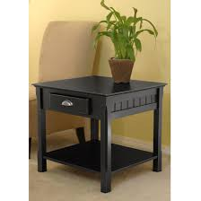 Wooden Coffee Table With Drawers Amazon Com Winsome Wood End Table With Drawer And Shelf Black